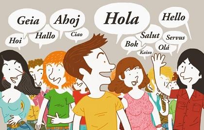 Personas saludando a otra en diferentes idiomas