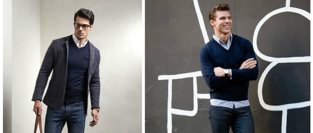 Hombres con suéter cuello v.