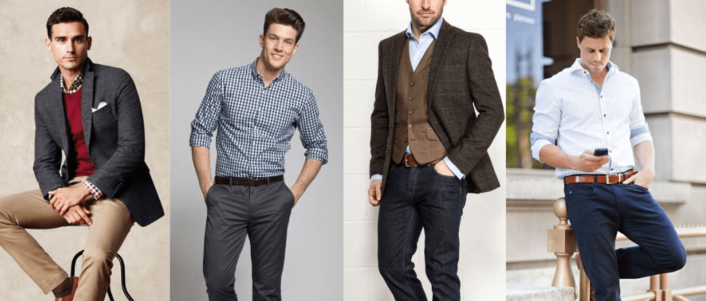 Hombres con ropa casual para la oficina.