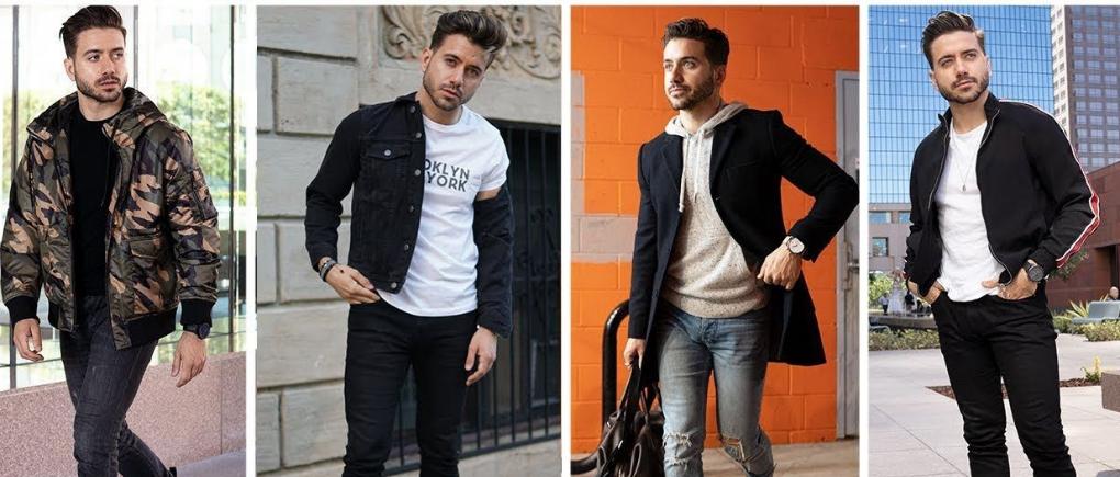 Hombre con diferentes piezas de ropa para noviembre.