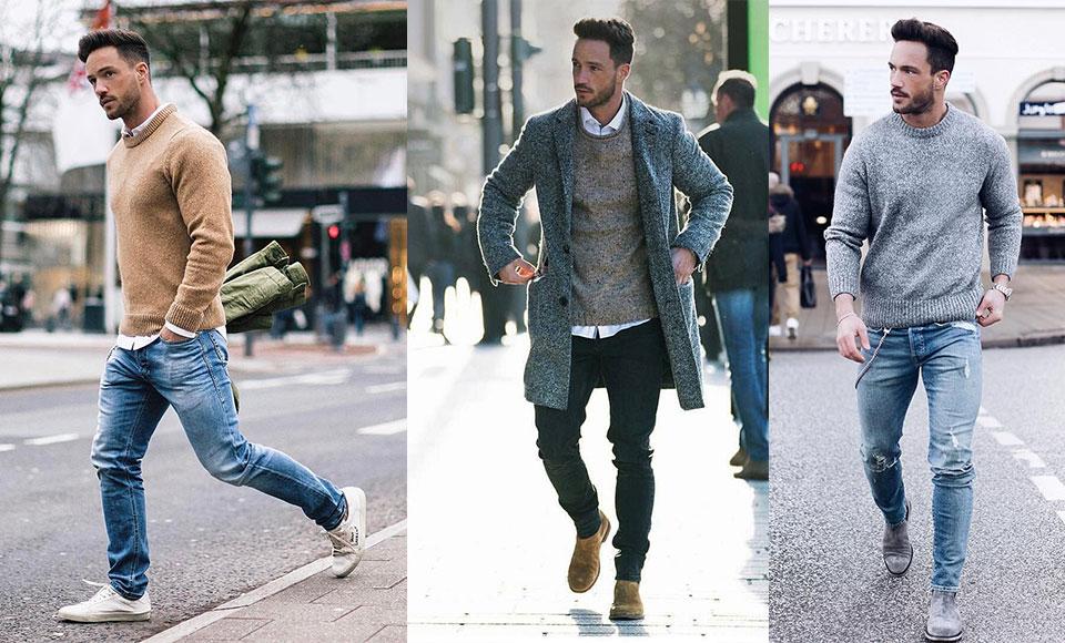 Hombre con diferentes suéteres