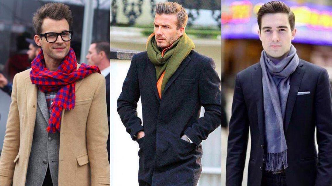 Hombre con sueter y bufanda tipo manta